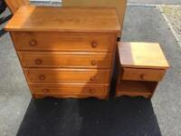 Pine chest of draws set
