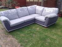Gorgeous grey floral corner sofa . Only 4 months old. Paid £600. In perfect condition
