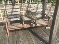 This combined table and chairs are old garden furniture. Ideal use would be kindling for stove