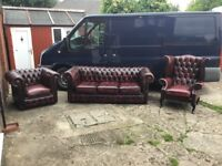 OXBLOOD RED LEATHER CHESTERFIELD 3 PIECE SUITE 3 SEATER 2 CHAIRS REAL LEATHER CAN DELIVER £895