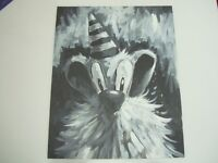 """Fun painting, dog wearing party hat. Original, not a print. Classic black and white style.16x20"""""""