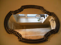 ART NOUVEAU DESIGN wall mirror, mirrored vanity tray and two sided mirror on stand