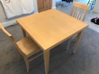 John Lewis Solid oak extendable 4 or 6 person dining table & chairs