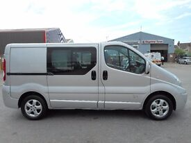 FINANCE ME!! NO VAT!! Stunning Renault Trafic sport factory 5 seat crew van with only 74k from new