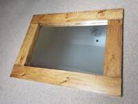 New Massive HANDCRAFTED Chunky Rustic Farmhouse Wooden Mirror 117cm x 94cm Dark Oak