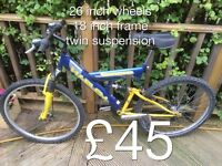 Gents Mountain Bikes from £25 - £50 Gents or boys hardtail mountain bike male