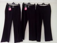 3 New (2 with Tags) Girls School Trousers Age 13/14