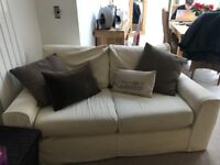 3 seater and 2 seater sofas. Excellent condition all covers machine washable. Cream in colour.