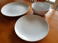 12 piece dinner set (John Lewes) and 16 piece cutlery set Sainsbury