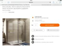 B Q Luxuriant 1400x900mm Shower glass end panel and fittings