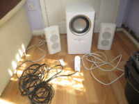 speaker system, Altec Lansing subwoofer and speakers and remote control