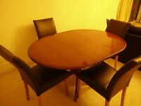 Extendable dining table ( brown) + 4 solid oak chairs