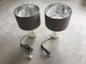 2 x Designer Mink Bubble Lamp - Next