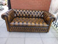A Tanny/Gold Brown Leather Chesterfield Buttoned Sofa Settee