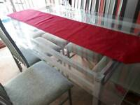 6 seater glass table top dinning table