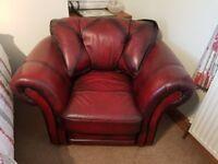 3 piece antique red leather suite