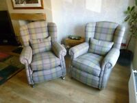 DFS Loch Leven suite comprising grand pillow back sofa, two wing back chairs and foot stool.