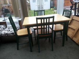 Pine table with 4 matching chairs