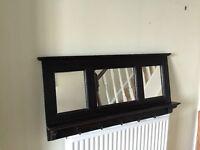 Hall mirror with shelf and hooks for coats/keys - dark hardwood