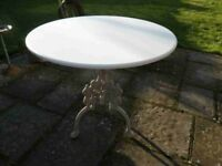 Vintage White Painted Round Conservatory Table - CAN DELIVER LOCALLY