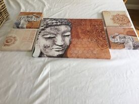 Collection of Buddha type prints on canvas
