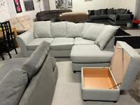 Beautiful DFS corner sofa with storage footstool