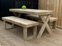 6ft picnic table garden furniture table with matching benches,