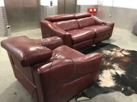DESIGNER DEEP RED GENUINE LEATHER ELECTRIC RECLINER 3 SEATER + ELECRRIC RECLINER ARM CHAIR‼️