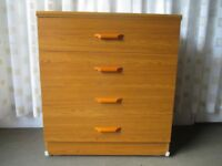TEAK EFFECT FOUR DRAWER CHEST OF DRAWERS