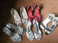 5 pairs Ladies heeled sandals size 6 - all for £5.00
