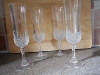 Champagne flutes x 4, crystal