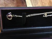 Brand new lady's sapphire silver necklace