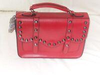 New Woman's Ladies Fashionable Medium Sized Deep Red Studded Leather style Shoulder, Handbag.