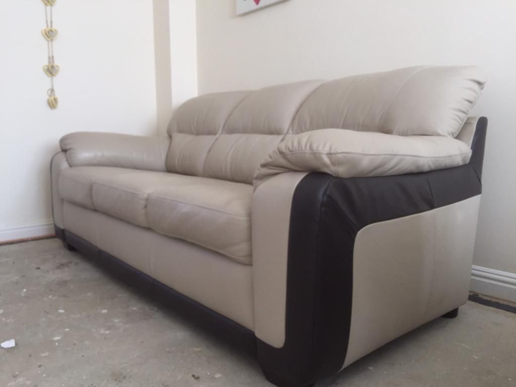 Used Dfs Cream Brown Leather 3 Seater Sofa Armchair Three