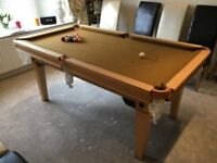 Slate bed, dual height snooker diner. Cues, rests, snooker and pool balls etc