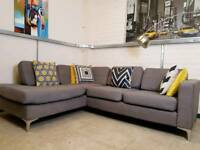 Furniture Village steel grey corner sofa