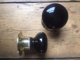 Black mortice ceramic entrance door knobs