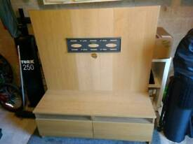 Ikea mounted TV unit in oak veneer, with 2 drawers