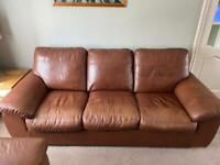 John Lewis Camden leather Grand 4 seater sofa in Castanga Contempo (tan)
