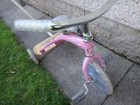 Lil Giant pink trike cycle 12 inch wheels with parent handle and standing platform at the back