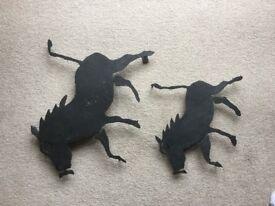 Matching Warthog wall ornaments