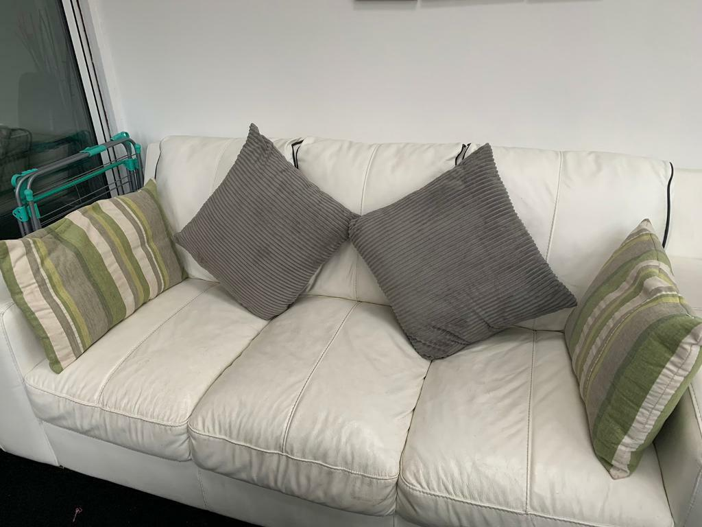 White Leather (black Piping) 3 Seater Sofa & Footstool | In Shaw, Manchester | Gumtree