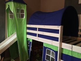 Cabin bed with tunnel,slide and tent