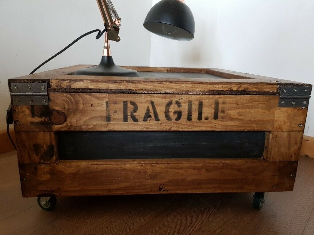 Industrial Wooden Coffee Table Rustic Storage Chest Crate Trunk With Locking Wheels Local Delivery In Hammersmith London Gumtree