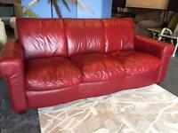 Real Leather 3 Seater Sofa in Red Leather
