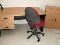 Office Desk and operator chair with matching storage/printer cabinet