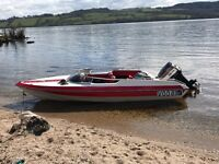Speed boat with Yamaha 85 engine speedboat, trailer, ready for season