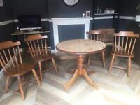 Solid oak dining table and 4 x chairs