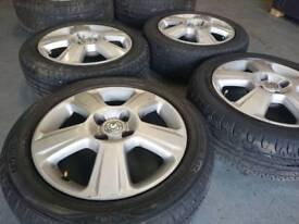 "Genuine OEM Vauxhall Corsa 15"" 4x100 alloy wheels + good tyres! Free fitting! Uk postage!"