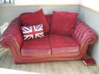 Stunning Leather and Material Chesterfield Sofa.